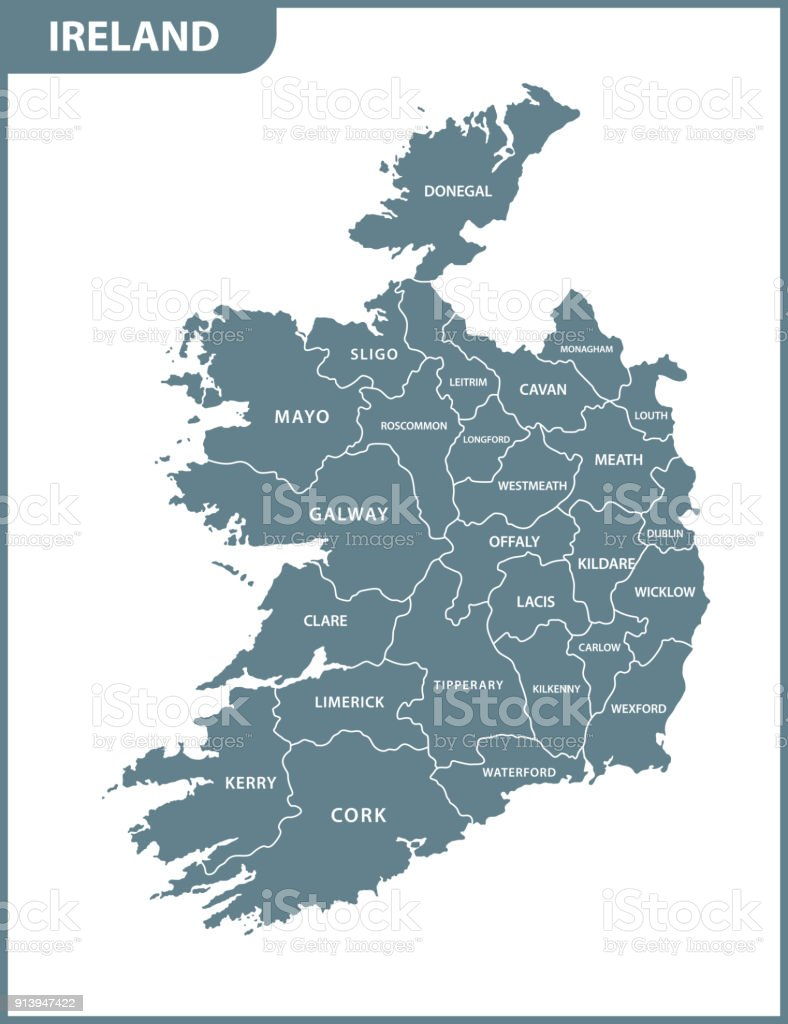 The detailed map of the Ireland with regions or states vector art illustration