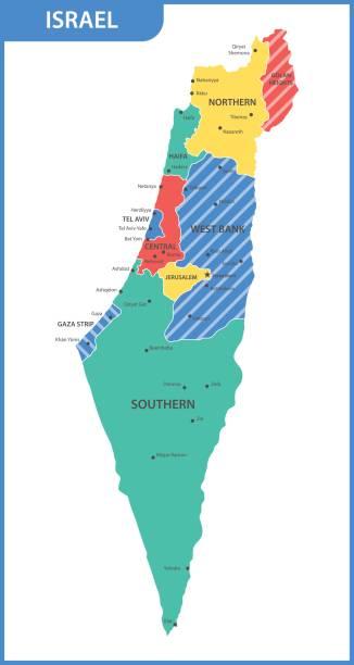 die detaillierte karte von israel mit den regionen oder staaten und städte, hauptstädte - haifa stock-grafiken, -clipart, -cartoons und -symbole