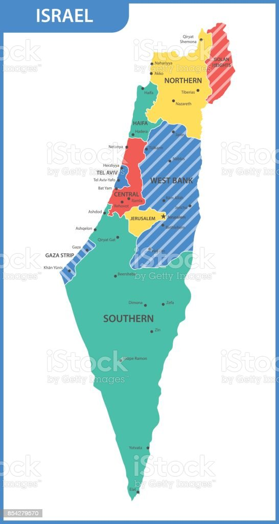 The Detailed Map Of The Israel With Regions Or States And Cities, Capitals  Vector Art