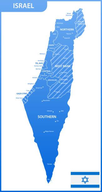 die detaillierte karte von israel mit regionen oder staaten und städte, hauptstädte, nationalflagge - haifa stock-grafiken, -clipart, -cartoons und -symbole