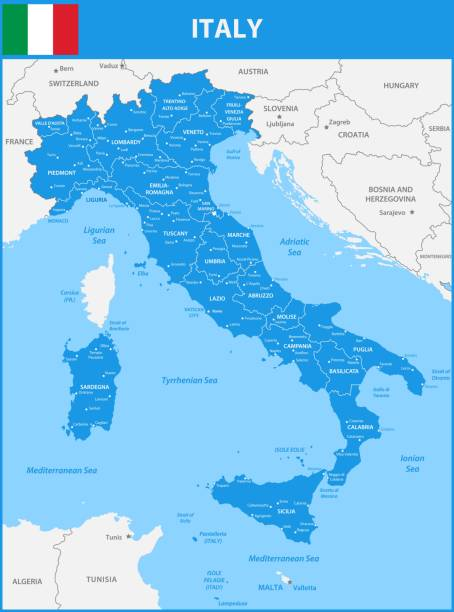 illustrazioni stock, clip art, cartoni animati e icone di tendenza di the detailed map of the italy with regions or states and cities, capital. with sea objects and islands. and parts of neighboring countries - calabria map