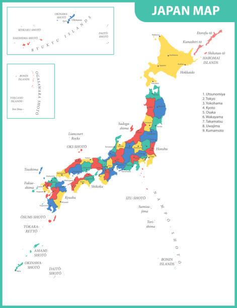 die detaillierte karte von japan mit den regionen oder staaten und städte, hauptstädte - kobe stock-grafiken, -clipart, -cartoons und -symbole