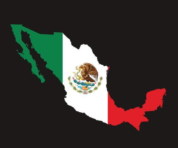 O mapa detalhado do México com a bandeira nacional - ilustração de arte em vetor