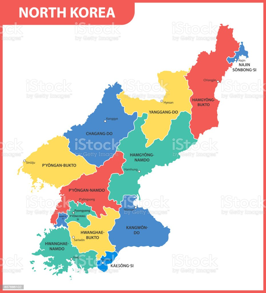 The detailed map of the North Korea with regions or states and cities, capital vector art illustration