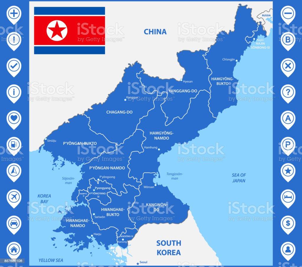 Carte Geographique Chine Sud.La Carte Detaillee De La Coree Du Nord Avec Des Regions Ou Des Etats
