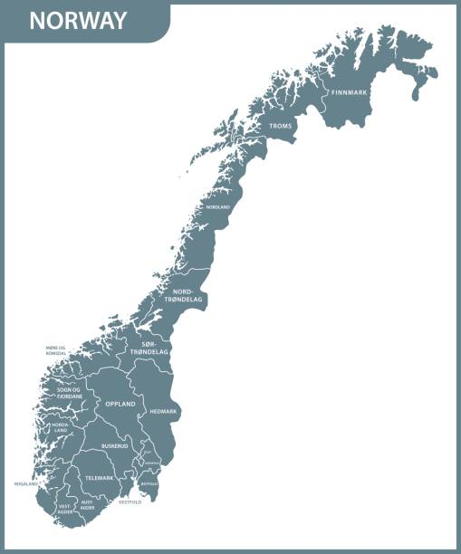 The detailed map of the Norway with regions The detailed map of the Norway with regions norway stock illustrations