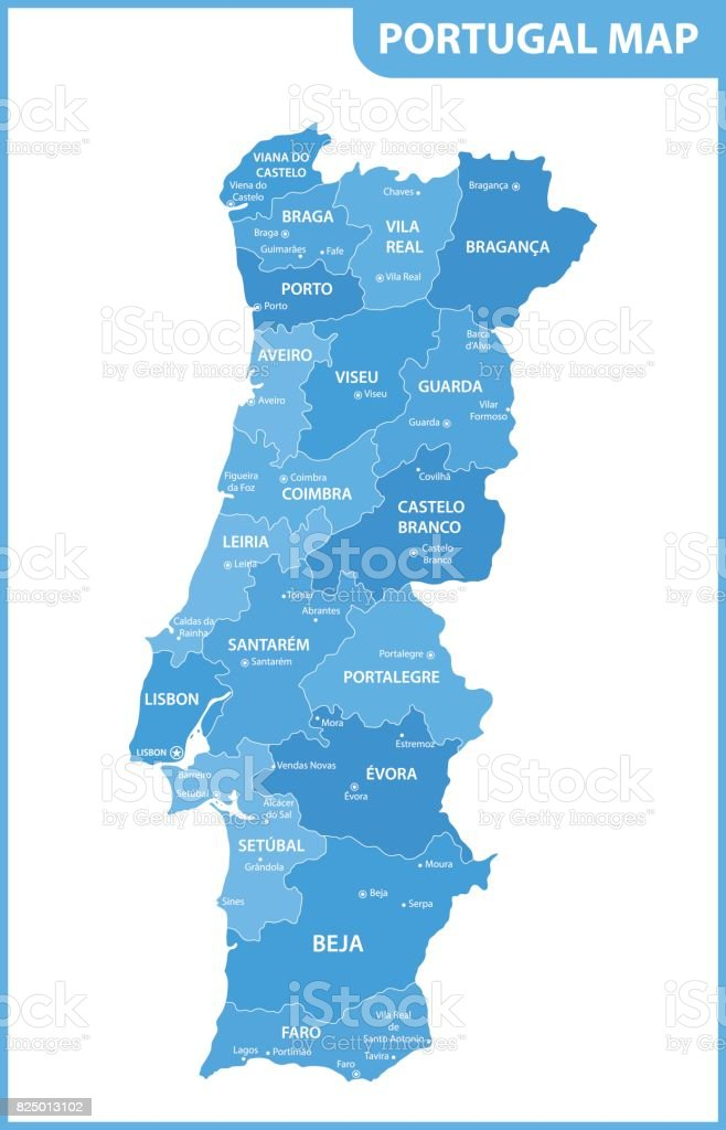 The Detailed Map Of The Portugal With Regions Or States And Cities - Portugal beja map