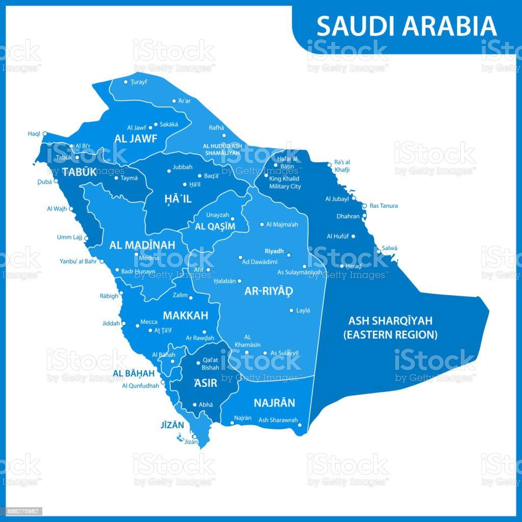 O mapa detalhado do Arábia Saudita com regiões ou Estados e cidades, capitais - ilustração de arte em vetor