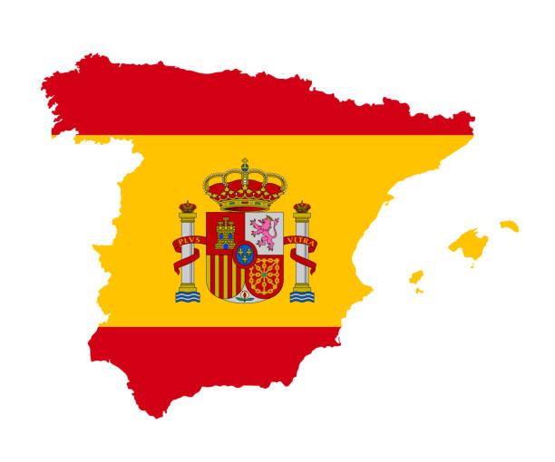 die detaillierte karte von spanien mit flagge - spanien stock-grafiken, -clipart, -cartoons und -symbole