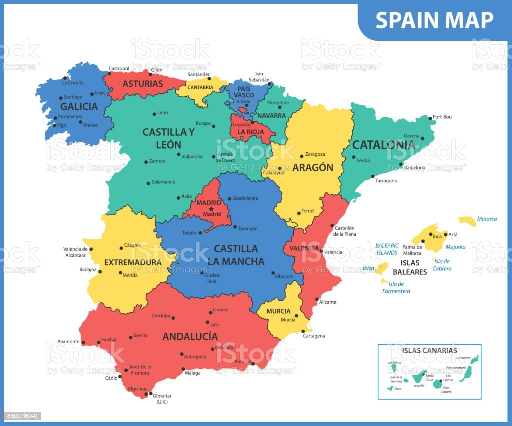 The detailed map of the Spain with regions or states and cities, capitals vector art illustration
