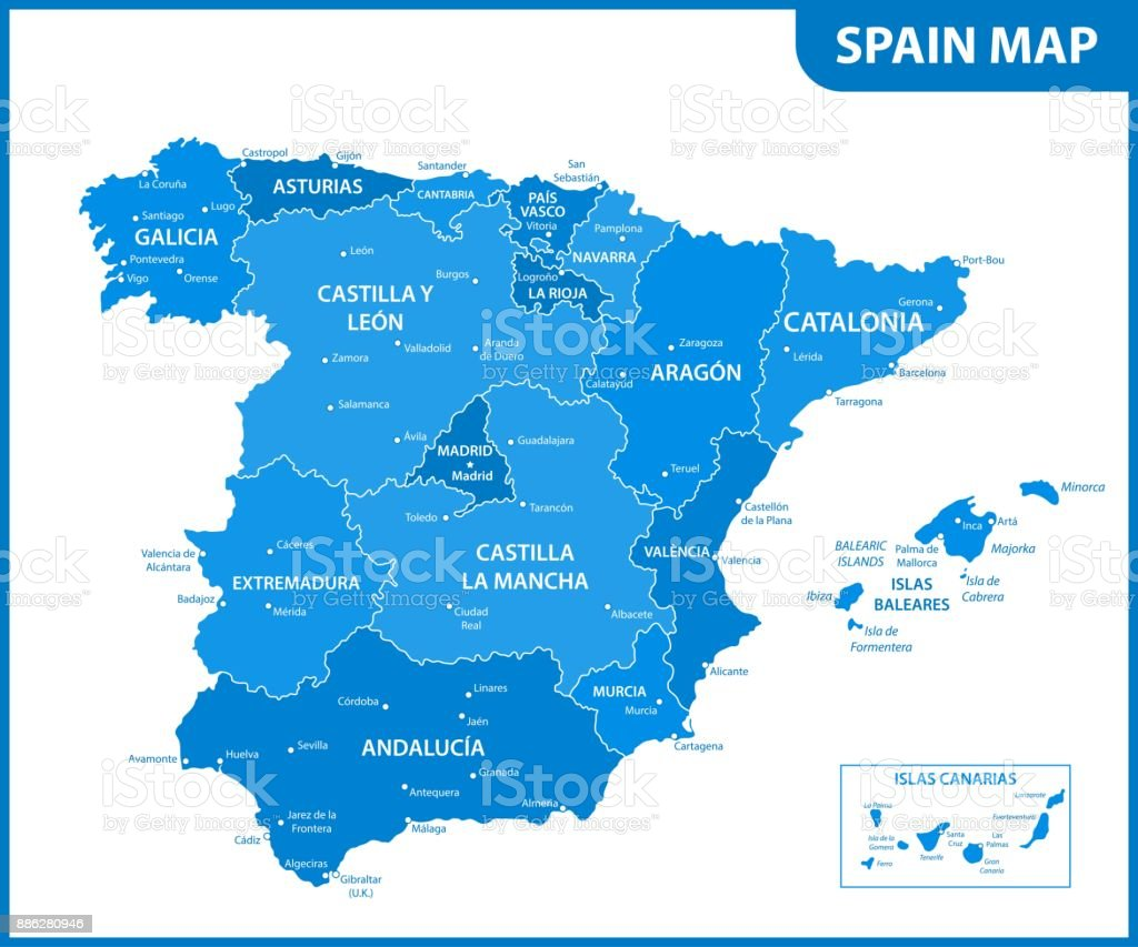Map Of Spain With States.The Detailed Map Of The Spain With Regions Or States And Cities