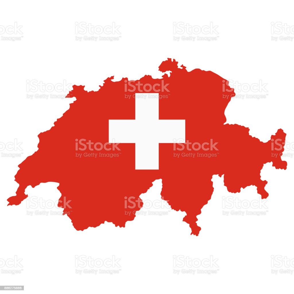 The detailed map of the Switzerland with National Flag vector art illustration