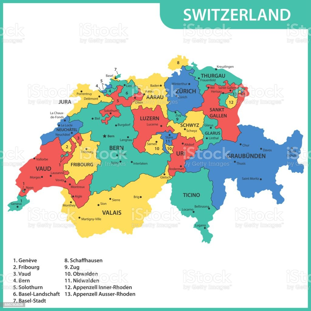 The detailed map of the Switzerland with regions or states and cities, capitals vector art illustration