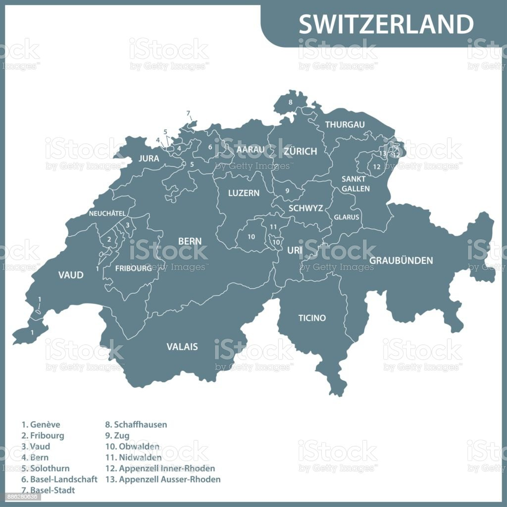 The detailed map of the Switzerland with regions or states vector art illustration