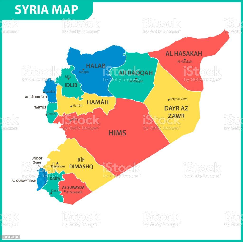 Syrien Karte Mit Städten.Die Detaillierte Karte Von Syrien Mit Den Regionen Oder Staaten Und