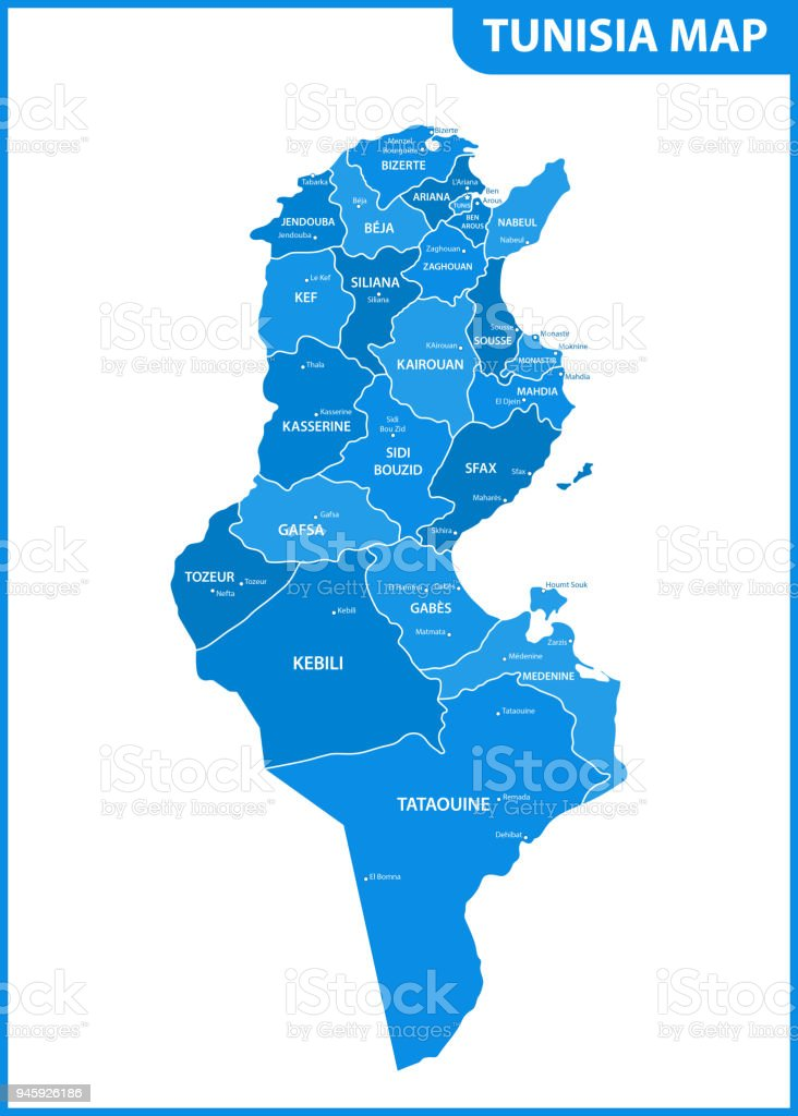 The Detailed Map Of The Tunisia With Regions Or States And Cities ...
