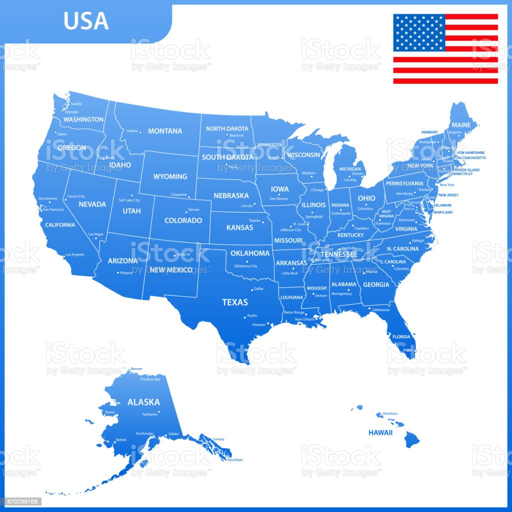 Capital Of Usa Map.The Detailed Map Of The Usa With Regions Or States And Cities