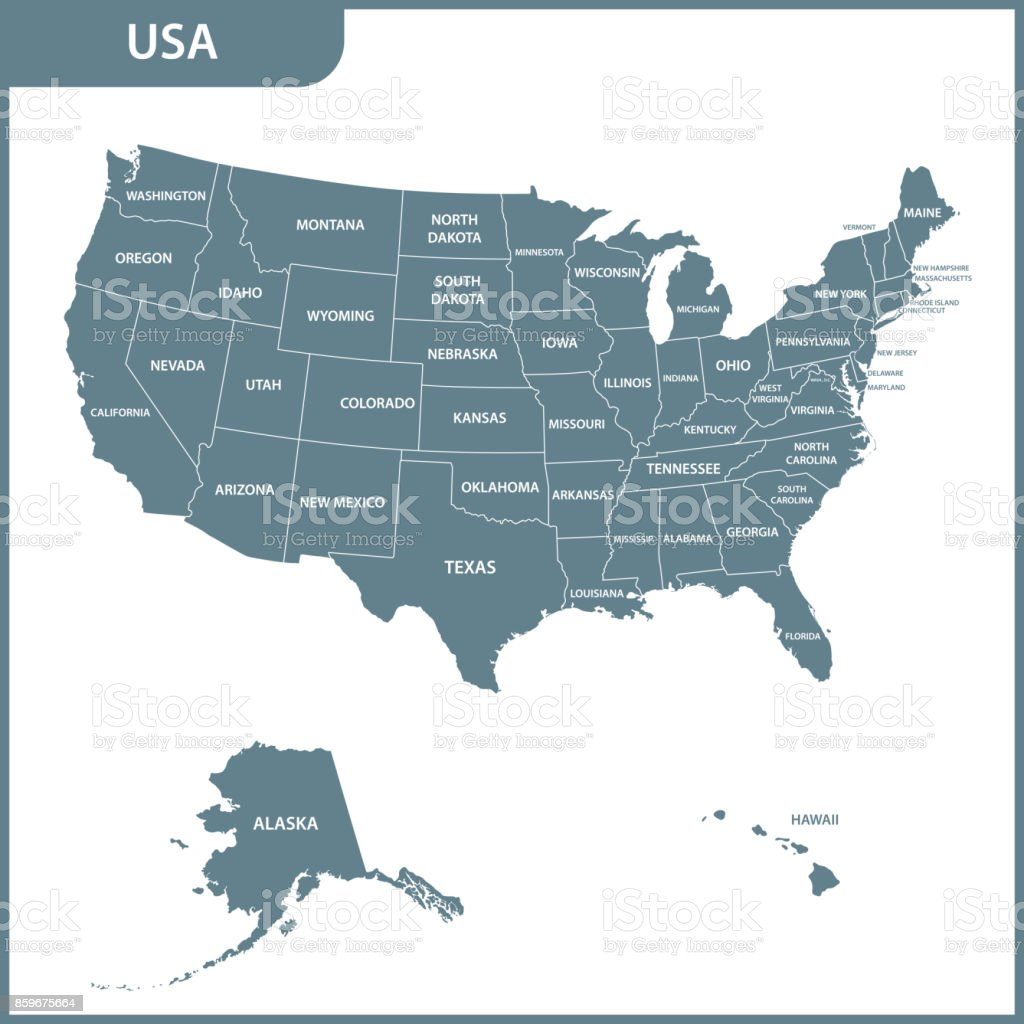 The detailed map of the USA with regions. United States of America. vector art illustration