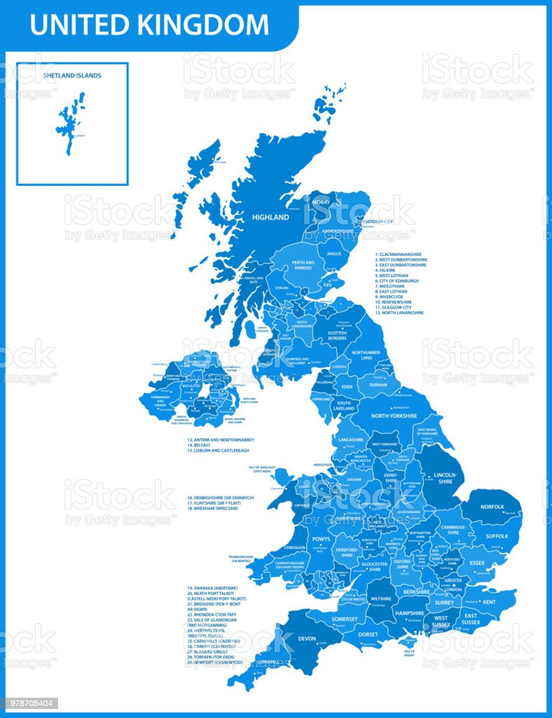 Detailed Map Of England Cities.The Detailed Map Of United Kingdom With Regions Or States And Cities