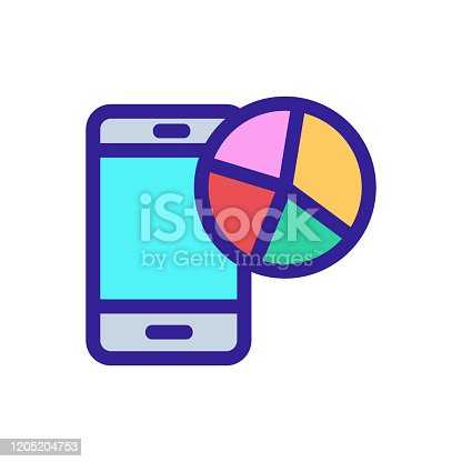istock The diagram in the phone is a vector icon. Isolated contour symbol illustration 1205204753