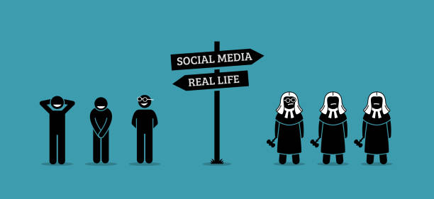 illustrazioni stock, clip art, cartoni animati e icone di tendenza di the difference between real life and social media human behaviors. - real life