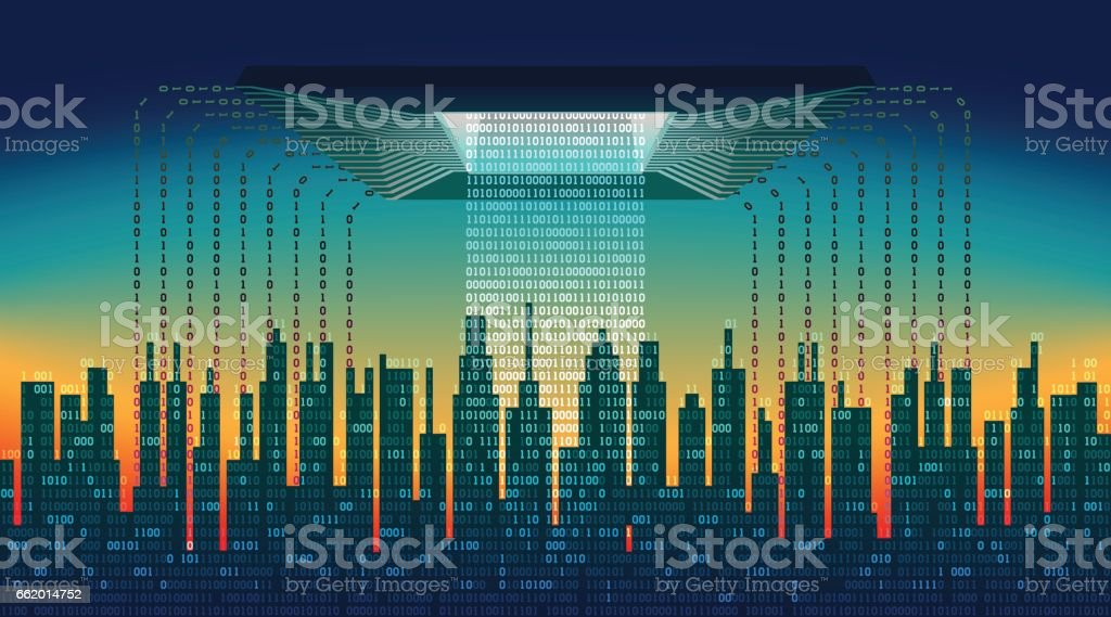 The digital city. The main chip controls the flow of information in the abstract city, high-tech background royalty-free the digital city the main chip controls the flow of information in the abstract city hightech background stock vector art & more images of abstract