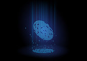 Abstract thumb fingerprint pattern was scanned to 3d hologram by future technology and express some computing language.