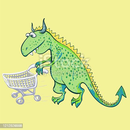 The dinosaur is fabulous - a children's toy. Dinosaur with a stroller on a yellow background