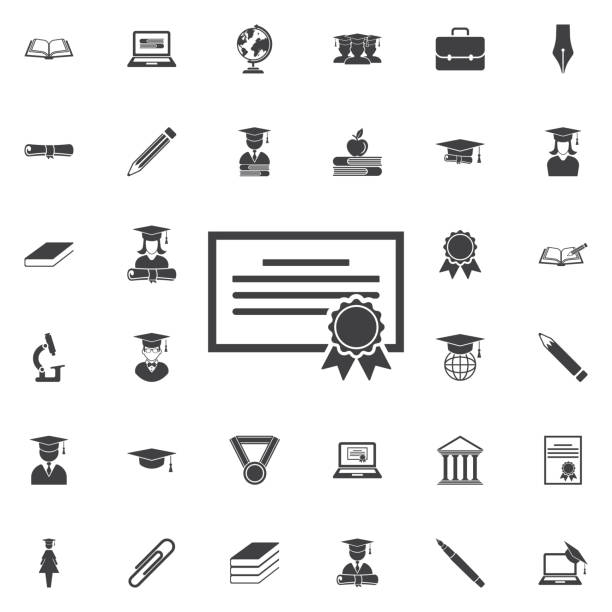 The diploma icon. The diploma icon. Education set of icons qualification round stock illustrations