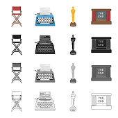 The director's armchair, a typewriter, a film festival award, a screen in the cinema. Film and Cinema set collection icons in cartoon black monochrome outline style vector symbol stock illustration .