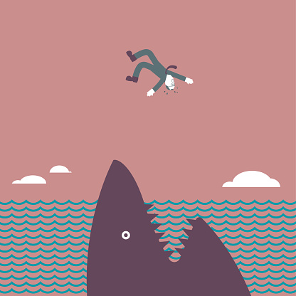 The disaster happened, a man fell into the sea and the huge shark opened his mouth.