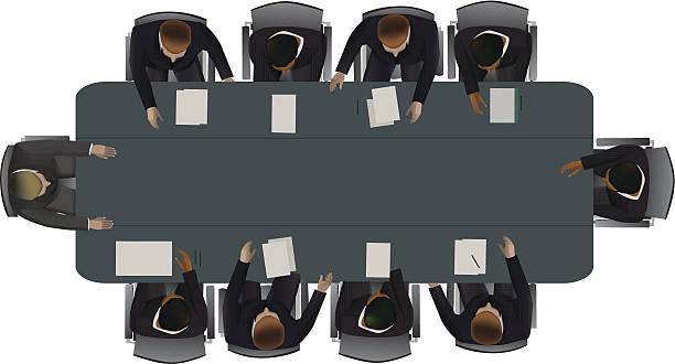 illustrazioni stock, clip art, cartoni animati e icone di tendenza di la discussione di importanti questioni - business meeting, table view from above