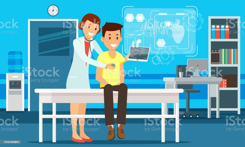 The doctor conducts a survey using the tablet and shows the result on the hologram.Digital medicine vector art illustration