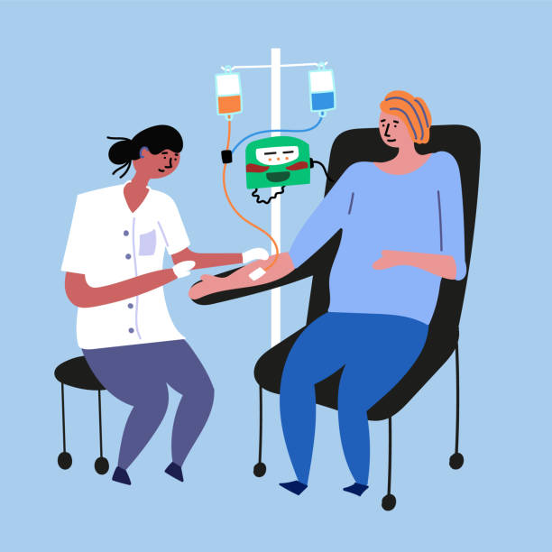 ilustrações de stock, clip art, desenhos animados e ícones de the doctor does chemotherapy for a cancer patient - diálise