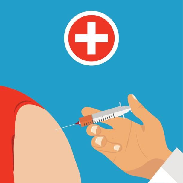 illustrations, cliparts, dessins animés et icônes de le médecin injecte au patient. main du médecin est titulaire d'une seringue - vaccin enfant