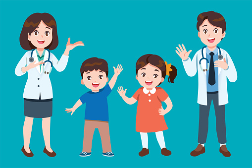 The doctor invites children to come for annual health checkup or to check for diseases with relax. Professional General Medical Pediatrician character.
