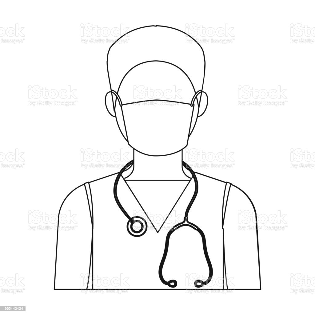 The doctor is wearing a face mask with a phonendoscope. Medicine single icon in outline style vector symbol stock illustration web. royalty-free the doctor is wearing a face mask with a phonendoscope medicine single icon in outline style vector symbol stock illustration web stock vector art & more images of adult