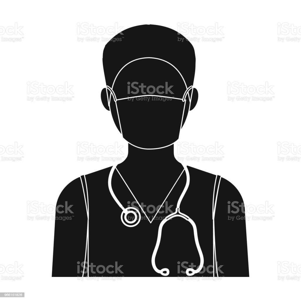 The doctor is wearing a face mask with a phonendoscope. Medicine single icon in black style vector symbol stock illustration web. - Векторная графика Больница роялти-фри