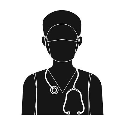 The Doctor Is Wearing A Face Mask With A Phonendoscope Medicine Single Icon In Black Style Vector Symbol Stock Illustration Web — стоковая векторная графика и другие изображения на тему Больница
