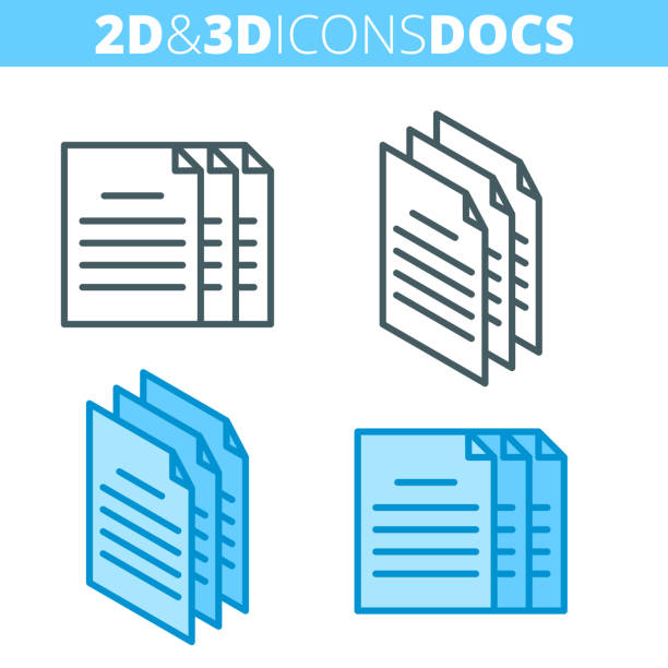 The document pile. Flat and isometric 3d outline icon set. vector art illustration