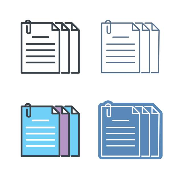The document pile with paperclip. Vector outline icon set. vector art illustration