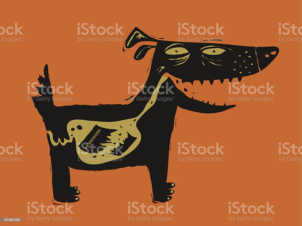 The Dog Ate My Homework vector art illustration