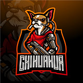 The dog of chihuahua esport  mascot design. for electronic sport gaming