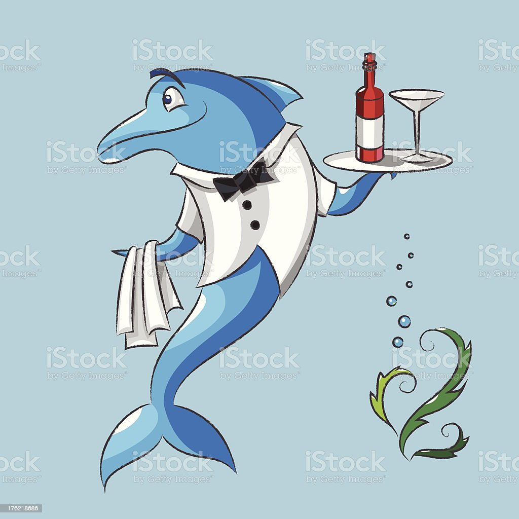 The dolphin is a waiter royalty-free stock vector art