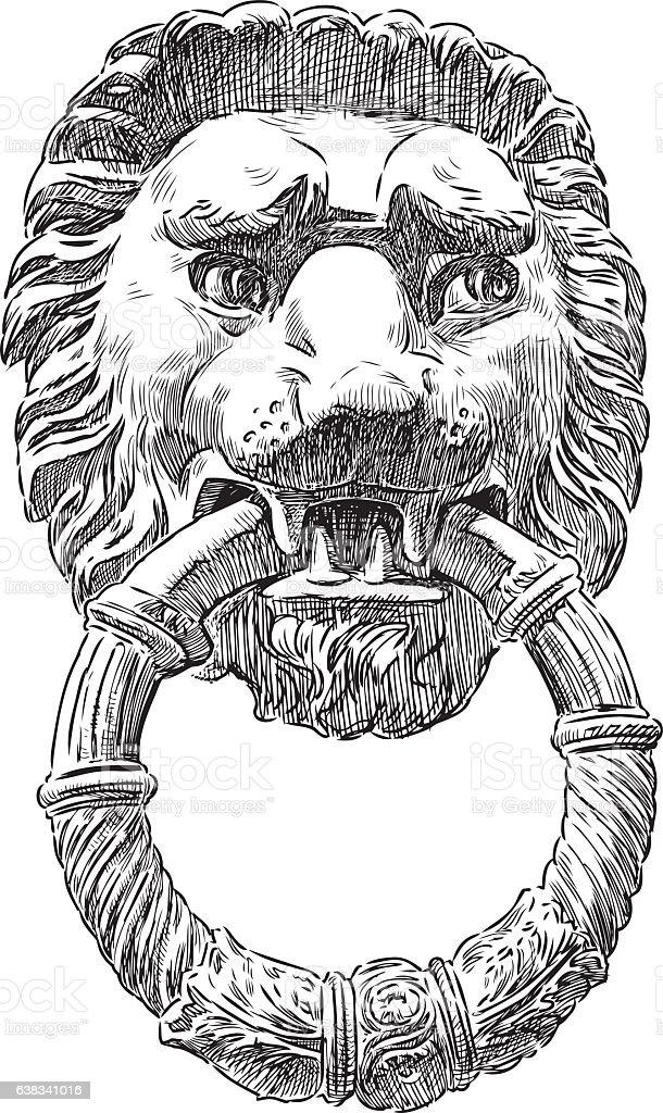 The Door Handle In The Form Of The Lion Head Royalty Free The Door Handle