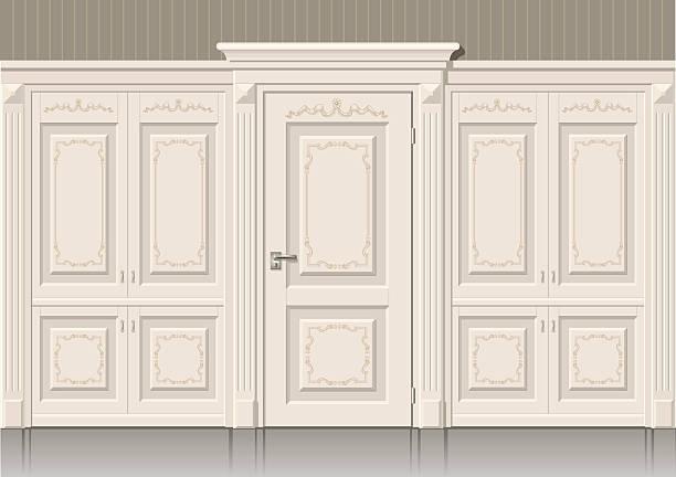 ilustrações, clipart, desenhos animados e ícones de os painéis da porta e clássico - molduras decorativas
