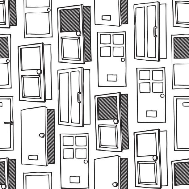 The Door Seamless Pattern background vector white The Door Seamless Pattern background vector white front door stock illustrations