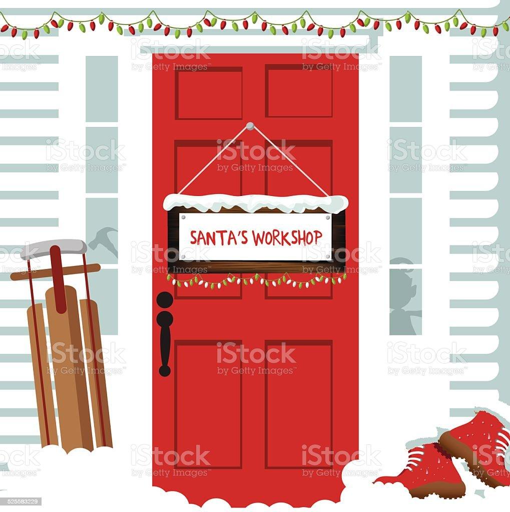 La porte de l'atelier du Père Noël - Illustration vectorielle