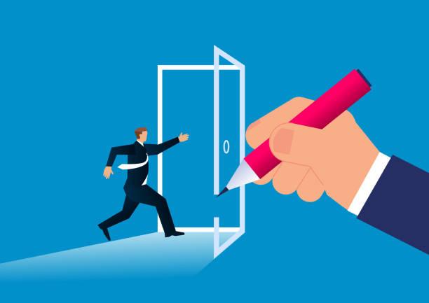 ilustrações, clipart, desenhos animados e ícones de a porta para o sucesso, o gigante dá ao empresário uma porta para passar - desenhos aleatórios e à mão livre