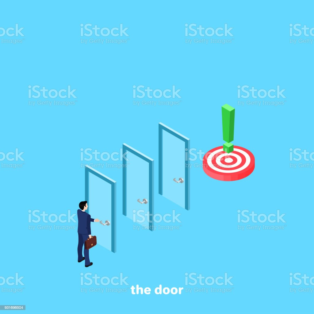 the door vector art illustration